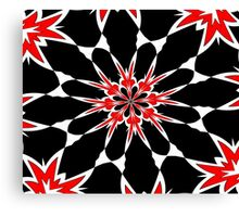 Bizarre Red Black and White Pattern 3 Canvas Print
