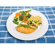 Colorful Meal of Chicken Rice and Vegetables Photographic Print