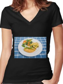 Colorful Meal of Chicken Rice and Vegetables Women's Fitted V-Neck T-Shirt