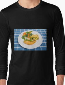 Colorful Meal of Chicken Rice and Vegetables Long Sleeve T-Shirt