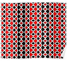 Decorative Red Black and White Pattern Poster