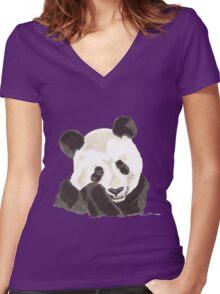 Spirit of Panda - Shamanic Art Women's Fitted V-Neck T-Shirt