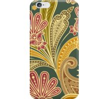 Oriental Iranian Paisley - Green Yellow Red iPhone Case/Skin