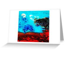 Red And Blue Landscape by Sharon Cummings  Greeting Card