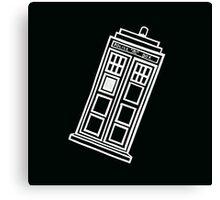 Black and white TARDIS (tilted) Canvas Print