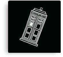 Black and white TARDIS (tilted) Canvas Print