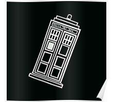 Black and white TARDIS (tilted) Poster