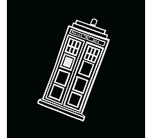 Black and white TARDIS (tilted) Photographic Print
