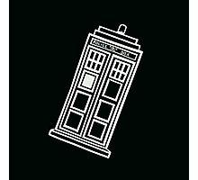Black and white TARDIS (tilted) Photographic Print