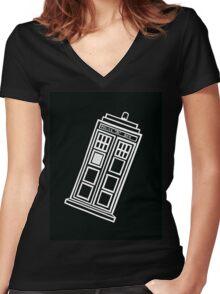 Black and white TARDIS (tilted) Women's Fitted V-Neck T-Shirt
