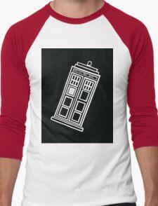 Black and white TARDIS (tilted) Men's Baseball ¾ T-Shirt