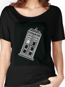 Black and white TARDIS (tilted) Women's Relaxed Fit T-Shirt