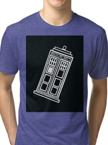 Black and white TARDIS (tilted) Tri-blend T-Shirt