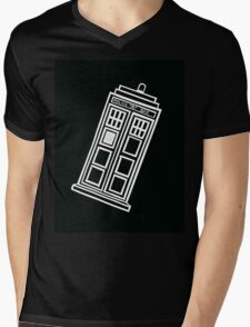 Black and white TARDIS (tilted) Mens V-Neck T-Shirt