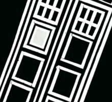 Black and white TARDIS (tilted) Sticker