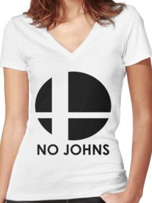No Johns  Women's Fitted V-Neck T-Shirt