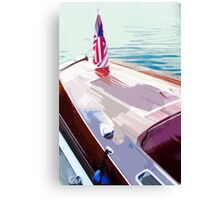 Docked Wooden Boat Abstract Canvas Print