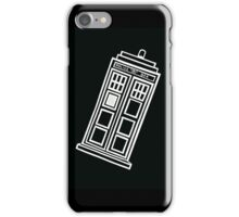 Black and white TARDIS (tilted) iPhone Case/Skin