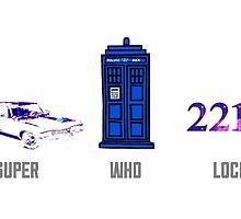 Superwholock design (impala, TARDIS, 221B) by lotifer