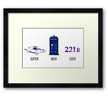 Superwholock design (impala, TARDIS, 221B) Framed Print