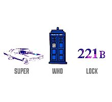 Superwholock design (impala, TARDIS, 221B) Photographic Print