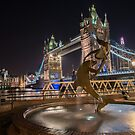 Tower Bridge and Girl with a Dolphin Fountain by Gary Lengyel