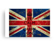 Grunge Keep Calm and Carry On Union Jack Canvas Print
