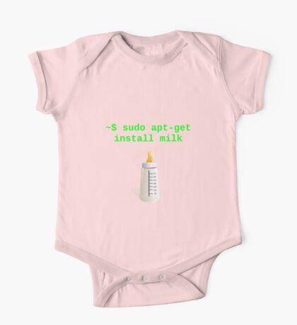 Linux Baby sudo apt-get install milk One Piece - Short Sleeve