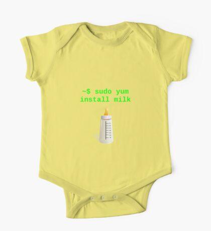 Linux Baby sudo yum install milk One Piece - Short Sleeve