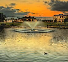 The suburban fountain at sunset by Murray Swift