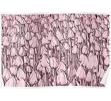Tulips - pink line art Poster