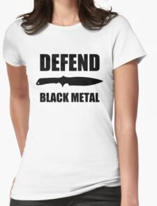 Defend Black Metal Womens Fitted T-Shirt