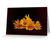A Bouquet of Yellow Daisies Laying on a Black Background Greeting Card