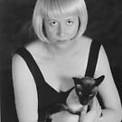 Self Portrait with Loopin the Siamese cat by Cathie Brooker