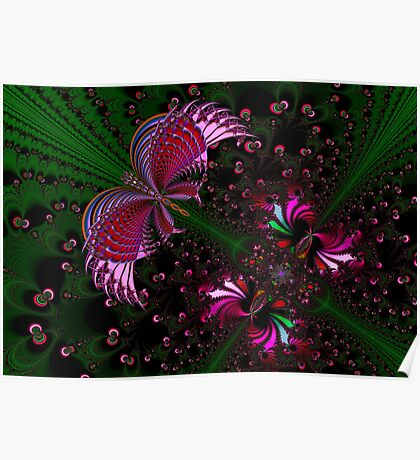 Fractal Red Butterfly Poster