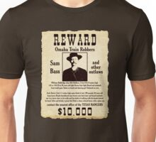 Sam Bass Gang Wanted Poster Unisex T-Shirt