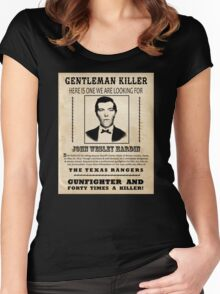 John Wesley Hardin Wanted Poster Women's Fitted Scoop T-Shirt