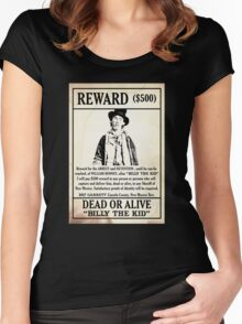 Billy the Kid Wanted Poster Women's Fitted Scoop T-Shirt