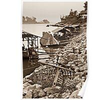 Boat Sheds on Maekong - Thailand Poster