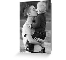 Big brother kisses Greeting Card