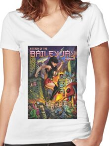 Attack of The Bailey Jay Show  Women's Fitted V-Neck T-Shirt