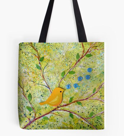 Cheerful Chirpy Songbird on a Beautiful Morning Tote Bag