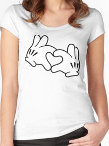 Mickey Heart Hands Women's Fitted Scoop T-Shirt