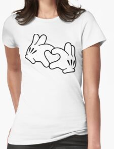 Mickey Heart Hands Womens Fitted T-Shirt