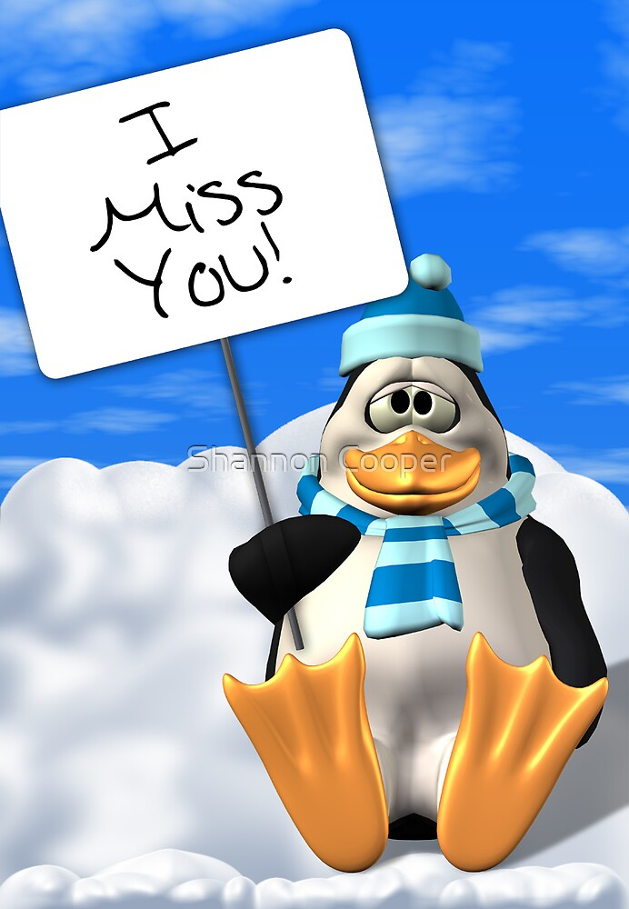 I Miss You Penguin Card by Shannon Beauford