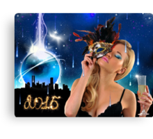 Crystal Ball falling down to NYC - Happy New Year & Merry Christmas postcard, wallpaper template Canvas Print