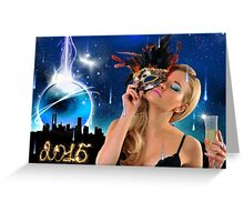 Crystal Ball falling down to NYC - Happy New Year & Merry Christmas postcard, wallpaper template Greeting Card