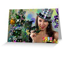 Sexy Santa's Helper -  Happy New Year postcard Wallpaper Template 1 Greeting Card