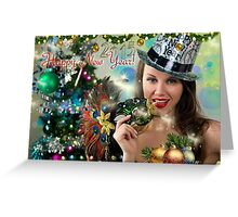 Sexy Santa's Helper -  Happy New Year postcard Wallpaper Template 2 Greeting Card