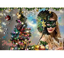 Sexy Santa's Helper -  Happy New Year postcard Wallpaper Template 3 Photographic Print